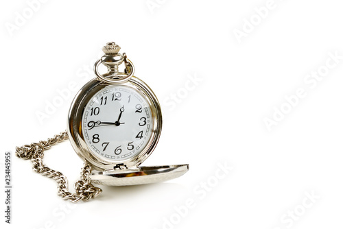 old pocket watch isolated on white background. Free space for text.