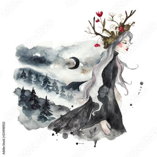 lesna-nimfa-i-lesny-krajobraz-gory-drzewa-mgla-i-ksiezyc-zimowy-magiczny-krajobraz-akwarela-ilustracja-na-bialym-tle