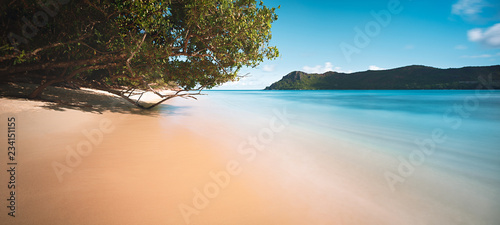 Foto op Aluminium Oceanië Palm and tropical beach panorama.Praslin island, Seychelles, long exposure, toned vintage style