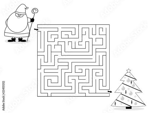 Czarno-biały labirynt dla dzieci z Św.Mikołajem i choinką / Boże Narodzenie