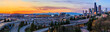 Seattle downtown skyline panorama at sunset from Dr. Jose Rizal or 12th Avenue South Bridge with traffic trail lights