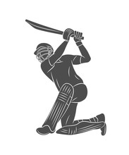 Silhouette Batsman Playing Cricket On A White Background