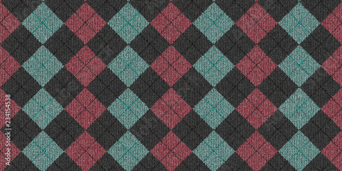 Blue Pink Gray Checkered Knitted Weaving Background Canvas Print