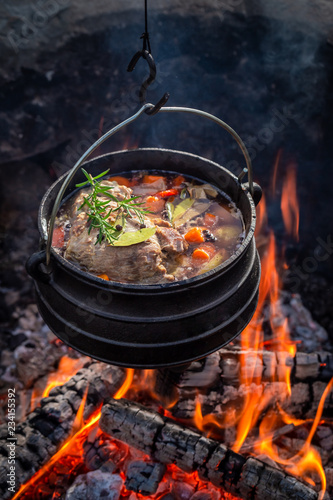 Delicious and fresh hunter's stew with meat and carrots