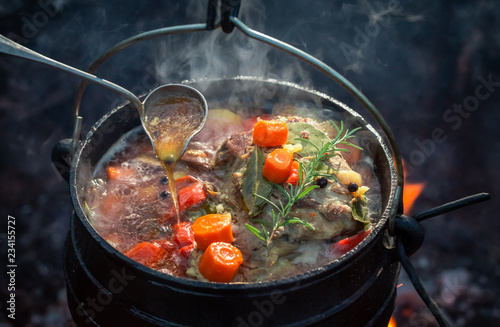 Tasty and homemade hunter's stew with meat and carrots