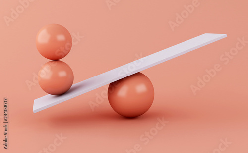 Tablou Canvas 3d spheres balancing on a seesaw.