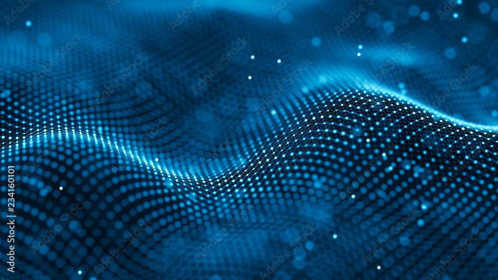Fototapety, obrazy: Data technology background. Abstract background. Connecting dots and lines on dark background. 3D rendering. 4k.