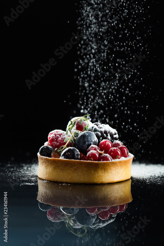 Photo Stands Dessert berry tart dessert on dark background. Traditional french sweet pastry. Delicious appetizing homemade cake with custard fresh berries and fruits. Copy space closeup. Selective focus