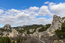 An Interesting Rock Outcropping Is Found On A Hillside Near Chateau Des Baux De Provence, France