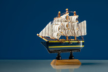 Small Wooden Model Of A Sailing Ship