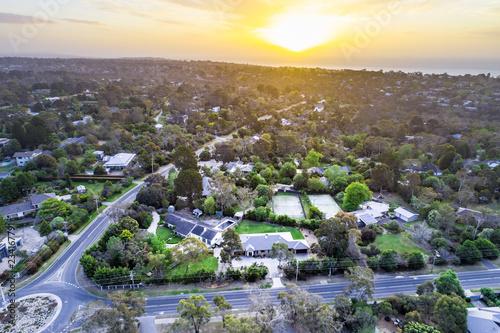 Foto auf Leinwand Cappuccino Sunset over residential area on Mornington Peninsula, Victoria, Australia