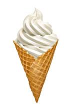 Whipped Vanilla Soft Ice Cream Or Frozen Yogurt Isolated On White Background