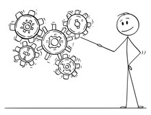Cartoon Stick Drawing Conceptual Illustration Of Man Or Businessman Pointing With Pointer At Working Cogwheels Or Cog Or Gear Wheels Mechanism. Business Concept Of Know-how And Solution.