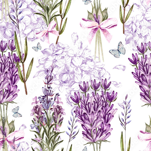 Leinwand Poster Watercolor pattern with Lavender and graphic hudrangea