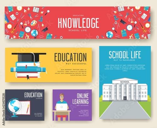 Fotografia  Back to school information cards set