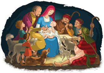 Christmas Nativity Scene with Holy Family (baby Jesus, Mary, Joseph) and shepherds