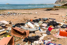 Coastal Degradation With Dirty Beach, Rubbish And Domestic Waste Polluting The Capaci Beach In Province Of Palermo, Sicily