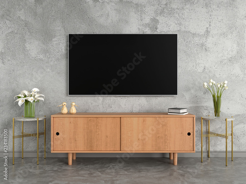 Fotografie, Tablou Widescreen TV and sideboard in living room, loft style, 3D rendering