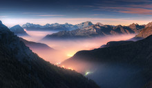 Mountains In Fog At Beautiful ...