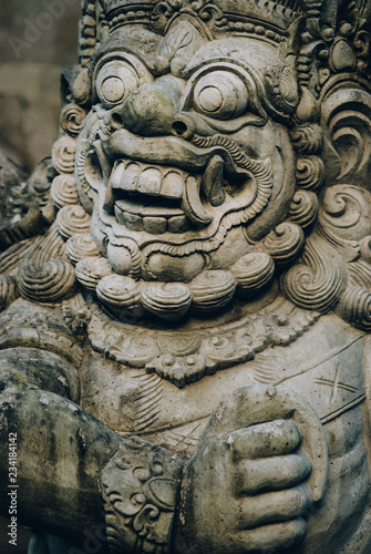 Closeup portrait of Hindu Buddhist traditional stone sculpture Canvas Print