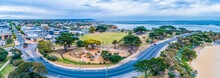 Aerial Panorama Of Playground And Park Near Mornington Pier With Surrounding Residential Area In Melbourne, Australia