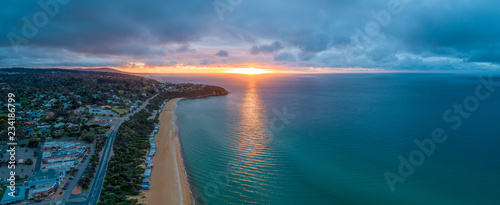 Mount Martha coastline at sunset - wide aerial panorama Canvas Print