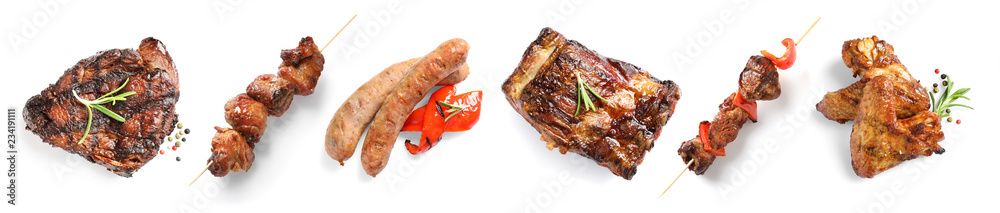 Set with delicious meat on white background, top view. Barbecue recipes