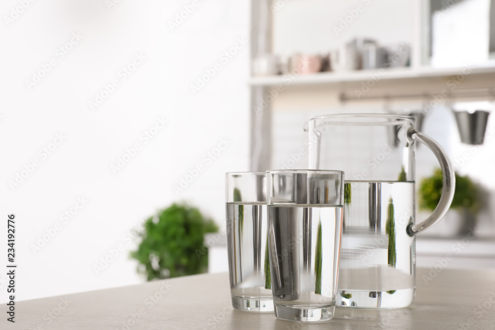 Fototapety, obrazy: Glassware of fresh water on table indoors. Space for text