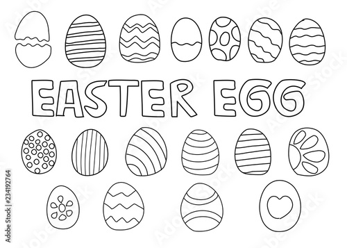 Abstract Hand Draw Set Of Doodle Cartoon Easter Eggs Design Outline Isolate On White Background Vector Illustration Buy This Stock Vector And Explore Similar Vectors At Adobe Stock Adobe Stock