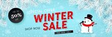 Winter Sale, Seasonal Horizontal Banner With Snowman, Snowfall, Snow, Vector