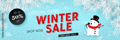 Fototapeta Winter sale, seasonal horizontal banner with snowman, snowfall, snow, vector obraz