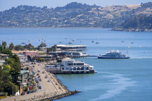 Aerial View Of Sausalito's Shoreline, With  Restaurants Facing The Water; North San Francisco Bay Area, California