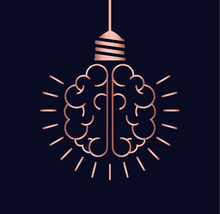 Copper Brain Light Bulb Concept For New Ideas