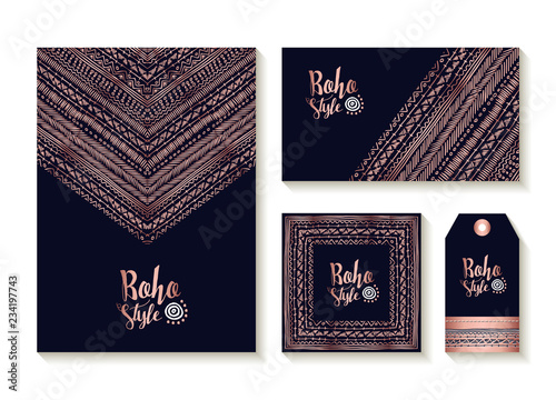 Deurstickers Boho Stijl Copper boho card template and label set