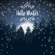 Happy Winter with evening Forest and half moonlight