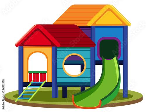 Fototapeta Isolated playhouse set on white background