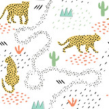 Seamless pattern with silhouettes of hand drawn spots leopards. Trendy wild animals texture for kids fabric, textile, apparel, wrapping. Creative vector illustration. Childish jungle wallpaper. - 234203395