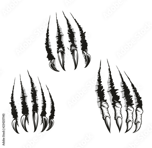 Cuadros en Lienzo Monster beast claws and scratches, vector