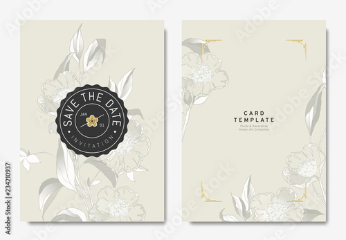 Foto Floral wedding invitation card template design, hand drawn camellia flowers on l