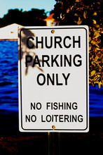 Church Parking Only Metal Sign