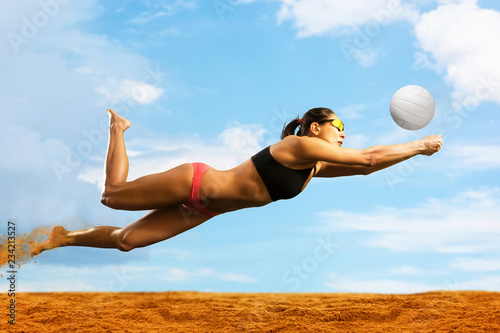 Female volleyball beach  player