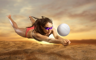 Female volleyball beach  pl...