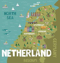 Illustration Map Of Netherland With City, Landmarks And Nature. Editable Vector Illustration