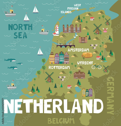 Illustration map of Netherland with city, landmarks and nature Wallpaper Mural