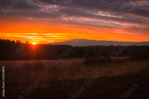 Staande foto Chocoladebruin Nice sunset on in mountain with forest, Czech landscape