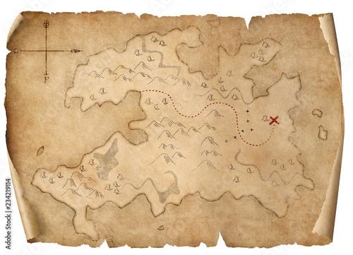 treasure medieval map isolated 3d illustration Fototapeta