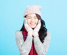 Beautiful Happy Young Woman Winter Portrait