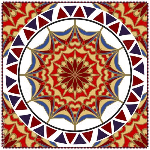 Ornamental floral print with color mandala Wallpaper Mural