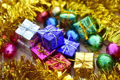 Fototapety, obrazy: Gift box golden on Merry Christmas and Happy new year concept design for texture background copy spec