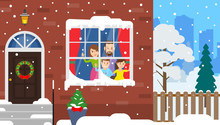 House Facade Urban Winter Landscape. Family Look Through The Window On Falling Snow